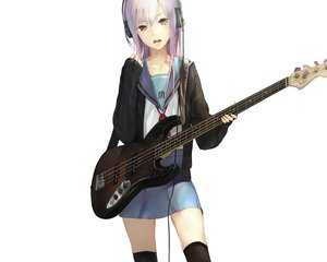 Rating: Safe Score: 183 Tags: guitar headphones instrument nagato_yuki nil suzumiya_haruhi_no_yuutsu thighhighs white User: Wiresetc