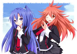 Rating: Safe Score: 43 Tags: amou_kanade blue_hair clouds kazanari_tsubasa kurono_yuzuko long_hair red_hair seifuku senki_zesshou_symphogear sky wink User: opai
