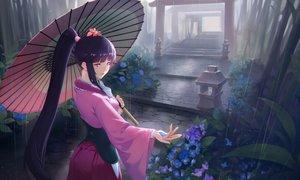 Rating: Safe Score: 113 Tags: corset flowers japanese_clothes koutetsujou_no_kabaneri long_hair nfb-zmc ponytail rain stairs torii umbrella water yomogawa_ayame User: RyuZU