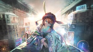 Rating: Safe Score: 58 Tags: amiya_(arknights) animal_ears arknights brown_hair building bunny_ears city hirose_(10011) japanese_clothes kimono long_hair scenic User: BattlequeenYume
