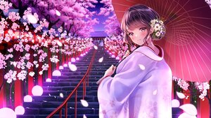 Rating: Safe Score: 45 Tags: amagi_shino blush brown_eyes cherry_blossoms flowers japanese_clothes kimono original purple_hair stairs tree wedding_attire User: BattlequeenYume