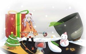 Rating: Safe Score: 103 Tags: christmas drink food green_eyes japanese_clothes jpeg_artifacts long_hair mitoko_(tsuchikure) original ribbons skirt snow snowman thighhighs tree tsuchikure_(3105mitoko) white_hair zettai_ryouiki User: gnarf1975