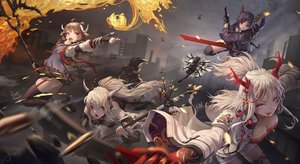 Rating: Safe Score: 72 Tags: animal_ears arknights brown_hair building ch'en_(arknights) city exusiai_(arknights) eyjafjalla_(arknights) fire group halo horns jay_xu lappland_(arknights) long_hair nian_(arknights) pointed_ears ponytail purple_eyes purple_hair red_eyes shining_(arknights) shorts signed staff sword texas_(arknights) thighhighs weapon white_hair wings User: BattlequeenYume