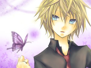 Rating: Safe Score: 15 Tags: aliasing all_male animal blonde_hair blue_eyes butterfly kagamine_len kuroi_(liar-player) male tie vocaloid User: MissBMoon