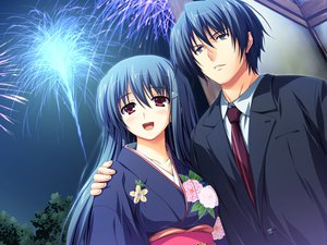 Rating: Safe Score: 43 Tags: akatsuki_no_goei blue_hair fireworks game_cg japanese_clothes kanzaki_moe long_hair tomose_shunsaku User: Wiresetc