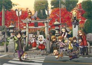Rating: Safe Score: 69 Tags: akaname_(neko_musume_michikusa_nikki) animal animal_ears autumn bird black_eyes black_hair blonde_hair book boots brown_eyes brown_hair cat catgirl chii_(neko_musume_michikusa_nikki) chinatsu_(neko_musume_michikusa_nikki) dog glasses gloves group hat hinata_daiki hoshino_hajime_(neko_musume_michikusa_nikki) ike_(altitude_attitude) japanese_clothes jorogumo_(neko_musume_michikusa_nikki) kappa_(neko_musume_michikusa_nikki) kokkuri_(neko_musume_michikusa_nikki) koma_(neko_musume_michikusa_nikki) kurona_(neko_musume_michikusa_nikki) kutchii leaves long_hair miko morinji_rin neko_musume_michikusa_nikki ponytail shishimaru_(neko_musume_michikusa_nikki) short_hair tail tengu_(neko_musume_michikusa_nikki) toda_mitsuru torii tree white_hair wings yellow_eyes User: C4R10Z123GT