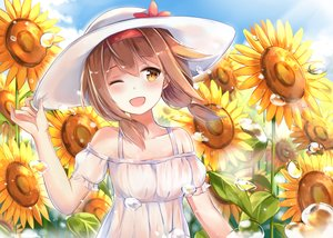 Rating: Safe Score: 113 Tags: anthropomorphism blush brown_hair bubbles clouds dress flowers hat kantai_collection long_hair shiratsuyu_(kancolle) sky summer_dress sunflower tailam wink yellow_eyes User: Eleanor