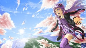 Rating: Safe Score: 55 Tags: clouds dress iroia long_hair purple_eyes purple_hair sky thighhighs twintails vocaloid yuzuki_yukari User: FormX