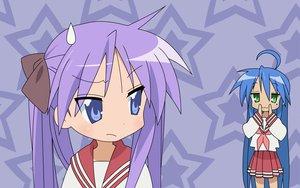 Rating: Safe Score: 3 Tags: cat_smile hiiragi_kagami izumi_konata lucky_star school_uniform stars User: Oyashiro-sama
