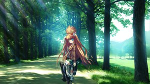 Rating: Safe Score: 85 Tags: bicycle blue_eyes brown_hair game_cg hinoue_itaru long_hair ootori_chihaya rewrite thighhighs tree User: Wiresetc