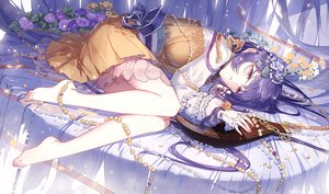 Rating: Safe Score: 7 Tags: barefoot bow dress flowers jpeg_artifacts long_hair purple_eyes purple_hair tagme_(artist) tagme_(character) touhou User: BattlequeenYume