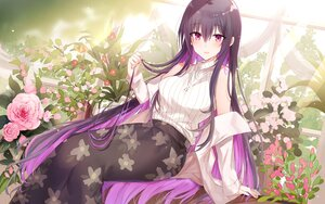 Rating: Safe Score: 54 Tags: flowers kinona long_hair necklace open_shirt original purple_eyes purple_hair rose User: BattlequeenYume