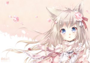Rating: Safe Score: 116 Tags: animal_ears blue_eyes ech flowers original petals scarf User: opai