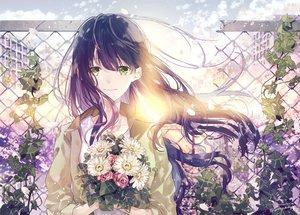 Rating: Safe Score: 39 Tags: blue_hair flowers green_eyes long_hair original petals seikai_meguru signed User: FormX