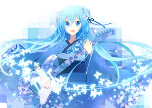 Rating: Safe Score: 87 Tags: blue_eyes blue_hair guitar hatsune_miku instrument japanese_clothes kimono tapa vocaloid User: HawthorneKitty