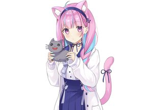 Rating: Safe Score: 27 Tags: animal animal_ears blush bow braids cat catgirl headband hololive minato_aqua purple_eyes purple_hair ribbons rimo school_uniform shirt skirt tail third-party_edit white User: otaku_emmy