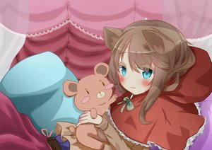 Rating: Safe Score: 50 Tags: animal_ears aqua_eyes bed blush bow brown_hair cape hoodie little_red_riding_hood ne-ne original red_riding_hood teddy_bear wolfgirl User: TheCorruptedWolf