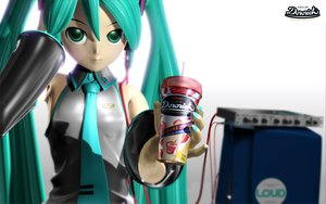 Rating: Safe Score: 23 Tags: 3d drink food green_eyes green_hair hatsune_miku headphones long_hair tie tripshots twintails vocaloid User: kn8485909