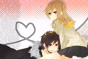 Rating: Safe Score: 15 Tags: black_hair blonde_hair durarara!! kida_masaomi long_hair orihara_izaya red_eyes short_hair skirt yellow_eyes User: Tensa