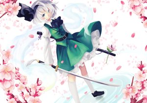 Rating: Safe Score: 64 Tags: cherry_blossoms green_eyes headband katana kneehighs konpaku_youmu ling_(vivianling) myon petals skirt sword touhou weapon white_hair User: Flandre93