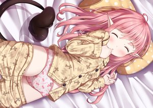 Rating: Questionable Score: 61 Tags: bed demon loli mochiyuki original pajamas panties pink_hair pointed_ears sleeping succubus tail underwear User: BattlequeenYume