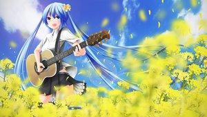 Rating: Safe Score: 84 Tags: blue_eyes blue_hair flowers guitar hatsune_miku instrument long_hair nekobaka sky vocaloid User: FormX