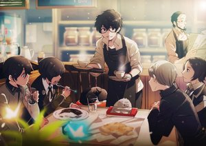 Rating: Safe Score: 43 Tags: all_male animal apron black_eyes black_hair brown_eyes brown_hair cat drink food glasses kiyomiya kurusu_akira male morgana_(persona_5) narukami_yuu persona persona_2 persona_3 persona_4 persona_5 short_hair tagme_(character) toudou_naoya User: RyuZU