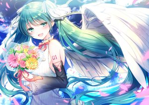 Rating: Safe Score: 45 Tags: flowers hatsune_miku kashiwabara_en long_hair twintails vocaloid wings User: BattlequeenYume