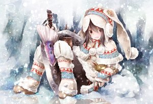 Rating: Safe Score: 189 Tags: brown_eyes brown_hair hat monster_hunter pantyhose snow sword toutenkou weapon winter User: Flandre93