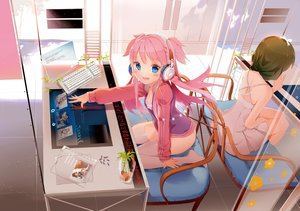 Rating: Safe Score: 135 Tags: 2girls anmi blue_eyes blush computer cropped dress headphones pink_hair scan thighhighs wings User: BattlequeenYume