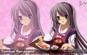 Rating: Safe Score: 13 Tags: apron blue_eyes clannad food glasses gray_hair headband key logo long_hair sakagami_tomoyo seifuku zoom_layer User: 秀悟