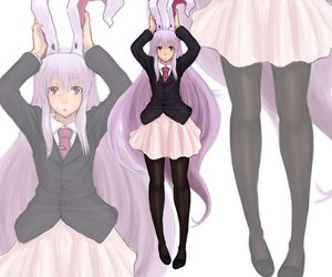 Rating: Safe Score: 42 Tags: animal_ears bunny_ears bunnygirl kuro_suto_sukii long_hair pantyhose pink_hair red_eyes reisen_udongein_inaba skirt tie touhou zoom_layer User: PAIIS