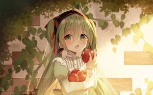 Rating: Safe Score: 53 Tags: apple blush fang food fruit green_eyes green_hair hatsune_miku headdress lolita_fashion long_hair sakakidani twintails vocaloid User: mattiasc02
