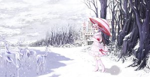 Rating: Safe Score: 168 Tags: animal blue_hair boots bow building cloudy.r dress gloves hat kneehighs red_eyes remilia_scarlet short_hair sky snow touhou tree umbrella vampire winter User: Flandre93