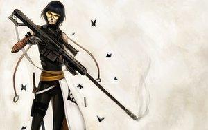 Rating: Safe Score: 84 Tags: black_hair bleach butterfly gloves gun microphone ninjatic short_hair soifon sword weapon yellow_eyes User: Tensa