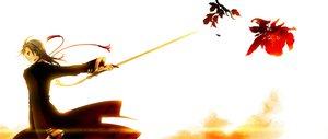 Rating: Safe Score: 6 Tags: flowers gray_hair orange_eyes sword weapon User: Maboroshi