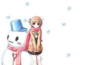 Rating: Safe Score: 91 Tags: brown_eyes brown_hair nekomiya_nono scarf short_hair snow snowman white yotsunoha User: rargy