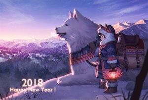 Rating: Safe Score: 59 Tags: animal animal_ears boots brown_hair dog doggirl esukee original purple_eyes scenic snow tail winter User: RyuZU