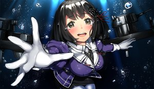 Rating: Safe Score: 44 Tags: black_hair brown_eyes bubbles gloves haguro_(kancolle) kantai_collection neo-masterpeacer ribbons short_hair underwater uniform water User: Flandre93