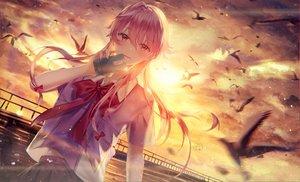 Rating: Safe Score: 48 Tags: animal bird gasai_yuno junpaku_karen long_hair mirai_nikki phone pink_eyes pink_hair school_uniform sunset User: Dreista