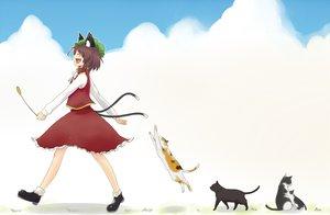 Rating: Safe Score: 24 Tags: animal animal_ears brown_hair cat catgirl chen hat short_hair skirt tail touhou User: grudzioh