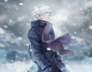 Rating: Safe Score: 52 Tags: all_male ginko_(mushishi) janemere male mushishi scarf snow white_hair User: Flandre93
