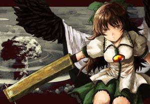 Rating: Safe Score: 39 Tags: bow brown_hair lolicept long_hair red_eyes reiuji_utsuho touhou weapon wings User: PAIIS
