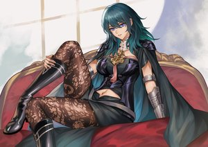 Rating: Safe Score: 92 Tags: aqua_hair blue_eyes boots byleth_(female) cape fire_emblem long_hair pantyhose pengnangehao User: FormX