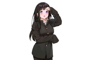 Rating: Safe Score: 41 Tags: black_hair blush breast_hold chitanda_eru hyouka long_hair mery_(apfl0515) purple_eyes school_uniform third-party_edit white User: otaku_emmy
