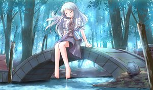 Rating: Safe Score: 45 Tags: animal barefoot blue_hair bow dress forest frog long_hair original risutaru tree water User: STORM