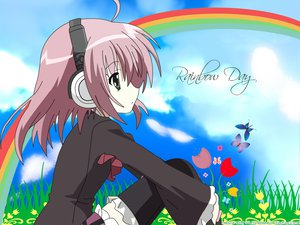 Rating: Safe Score: 15 Tags: green_eyes headphones pink_hair rainbow sakurano_kurimu seifuku seitokai_no_ichizon User: 秀悟