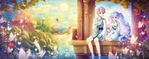 Rating: Safe Score: 16 Tags: blue_hair butterfly clouds dress hayun leaves male purple_hair red_eyes short_hair sky tree twintails water User: BattlequeenYume