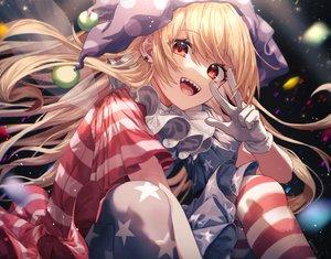 Rating: Safe Score: 94 Tags: blonde_hair close clownpiece dress fairy gloves hat long_hair mozuno_(mozya_7) pantyhose red_eyes signed touhou wings User: otaku_emmy