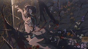 Rating: Questionable Score: 73 Tags: ass black_hair breasts dark flowers hong horns long_hair original sword topless torn_clothes weapon wings User: Fepple